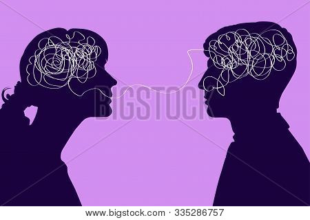 Dialogue Between Two People, Confused Thought Concept. Communication Between A Man And A Woman, Prob