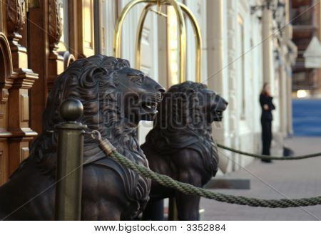 Wooden Lion Sculptures