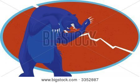 The bear representing the falling trend on the Stock Market in the colors of the American Flag. poster
