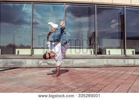 Young Active Dancer Jump, Stand One Arm, Sport Man, Summer City, Pose Break Dancer, Hip-hop Movement