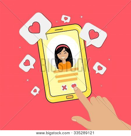 Dating Smartphone App Concept. Valentines Day Holiday. Flat Style Smartphone With Girl, Hand And Hea