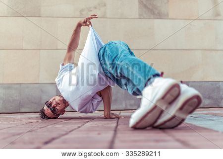 Young Active Dancer, Headstand, Sport Man, Summer In City, Break-dancer Pose, Hip-hop Movement, Mode