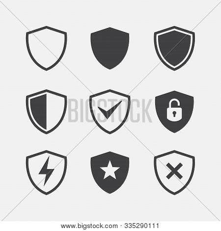 Simple Security Icon Set, Shield Icon Set, Vector Simple Shield Icon Set, Filled Flat Sign, Protecti