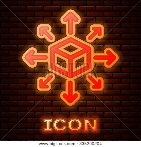 Glowing Neon Distribution Icon Isolated On Brick Wall Background. Content Distribution Concept. Vect