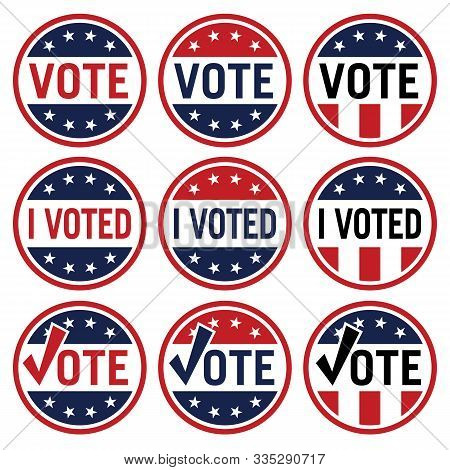 Vote And I Voted Political Election Logo Set In Red White And Blue Isolated Vector Illustration