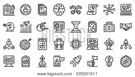Entrepreneur Icons Set. Outline Set Of Entrepreneur Vector Icons For Web Design Isolated On White Ba