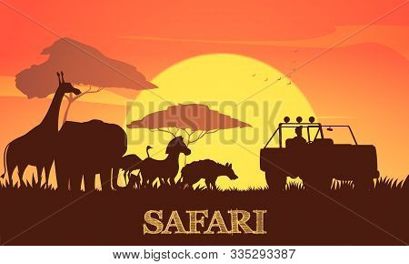Beautiful African Sunset Safari Background Poster With Giraffe Elephant Zebra Acacia Trees And Jeep