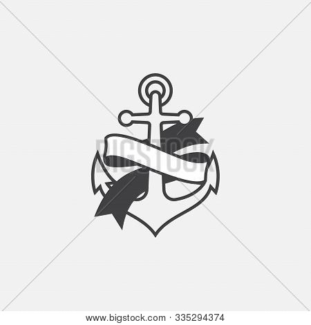 Anchor And Ribbon Vector Logo Icon, Nautical Maritime, Sea Ocean Boat Illustration Symbol, Anchor Ve