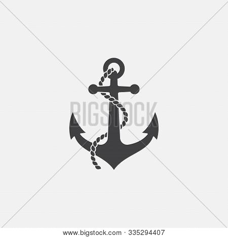 Anchor And Rope Vector Logo Icon, Nautical Maritime, Sea Ocean Boat Illustration Symbol, Anchor Vect