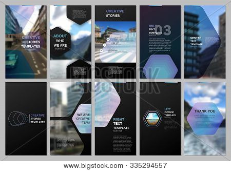 Creative Social Networks Stories Design, Vertical Banner Or Flyer Templates With Hexagonal Design Bl