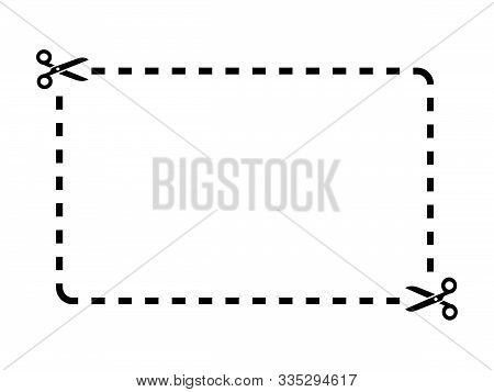 Cut Out Coupon Rectangle Shape With Scissors Icon.coupon Rectangle Template On White Background Draw