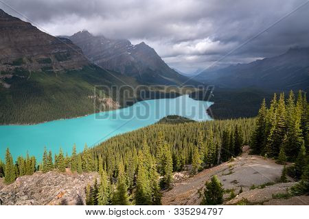 Beautiful Peyto Lake On A Cloudy Day, Icefield Parkway, Banff National Park, Alberta, Canada
