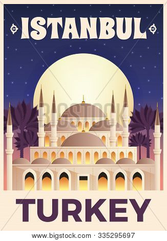 Turkey Travel Tourist Top Attractions Flat Poster With Famous Istanbul Mosque Minarets Palms Starry