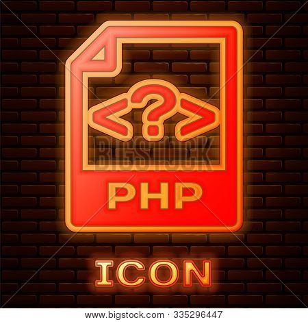 Glowing Neon Php File Document. Download Php Button Icon Isolated On Brick Wall Background. Php File