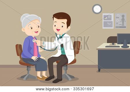 Doctor Examining Old Patient.doctor Listening To Chest Of Patient With Stethoscope. Adult Patient Vi