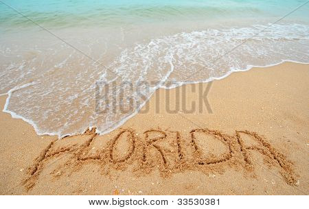 Florida Written In Sand