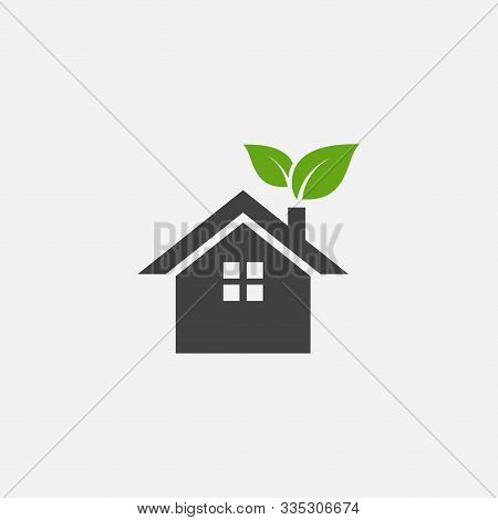 Green House Or Home Vector Icon, Home Leaf Vector Icon Illustration Sign, Eco Home Simple Icon, Smal