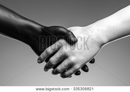 Close Up Of Black And White Hand Handshake On Light Background . 3d Rendering. Reconciliation