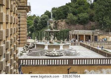 Florence, Italy - September 13, 2018: This Is The Carcio Fountain At The Exit Of The Pitti Palace In