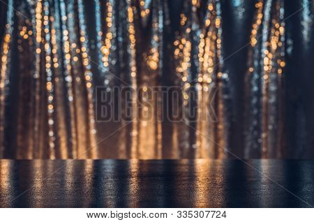 Festive And Shining Stage As Product Display. Texture Background With Copy Space