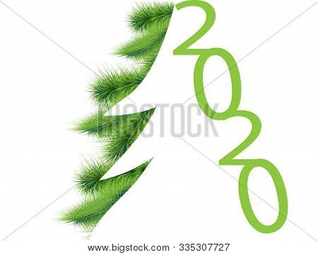 Happy New Year Symbol. Christmas Tree Decoration. Mixed Media. Green Background. 2020 Happy New Year