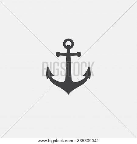 Anchor Vector Logo Icon, Nautical Maritime, Sea Ocean Boat Illustration Symbol, Anchor Vector Icon,