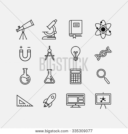 Laboratory Science Equipment Icon Set. Vector Illustration Flat Design, Education Flat Icon Set, Sci