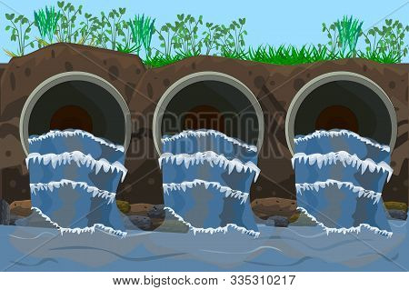 Wastewater. Sewage Flow. Water Pollution From Industrial Metal Pipes, Ecological Disaster, Dirty Tox