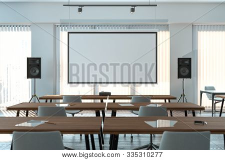Projector Screen Canvas In Modern Conference Room With Big Windows. 3d Rendering. Front View.