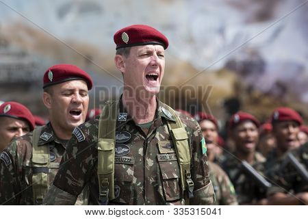 Rio De Janeiro, Brazil - November 23, 2019:  Military In Formation During 74th Anniversary Of Parach