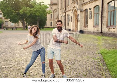 Happy Together. Couple In Love Walking Having Fun. Couple Relaxing Enjoying Each Other. Man Bearded