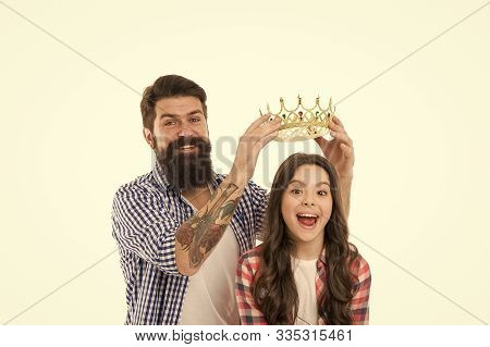 Title And Award. Miss Little Princess. Man Put Golden Crown On Head Of Child. Winner And Prize. Prem