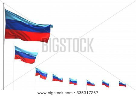 Cute Many Luhansk Peoples Republic Flags Placed Diagonal Isolated On White With Place For Your Conte