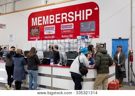 Detroit, Usa - Nov 23, 2019 : Costco Wholesale Membership And Customer Service Counter Inside A Stor