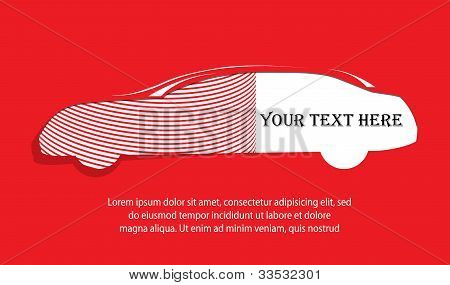 Car Silhouette Banner On Red Background For Your Text