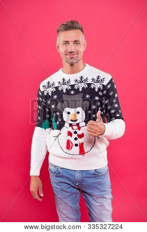 Good Choice. Cheerful Mood. Handsome Man Wear Winter Sweater With Snowman. Traditional Sweater For H
