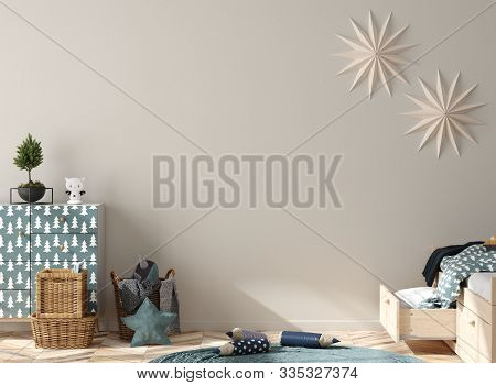 Wall Mock Up Background In Children Room Interior Decorated For New Year, 3d Illustration
