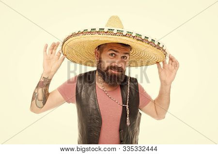 Mexican Melody Drives Him. Celebrate Traditional Mexican Holiday. Mexican Party Concept. Guy Happy C