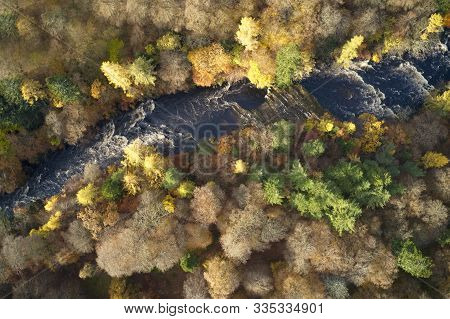 Aerial View Of River Esk At Glenesk In Angus Scotland During Autumn Colourful Tree Leaves