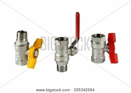 Sanitary Faucets Isolated On White Background. Material - Nickel Plated Brass