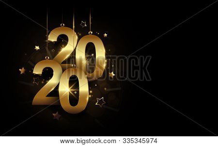 Happy New Year 2020 Banner. Golden Sparkling Luxury 2020 Calligraphy And Clock With Stars On Black B