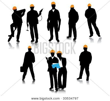 Builder people silhouette