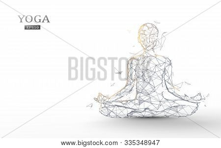 Person Practices Yoga And Meditation In The Lotus Position. Zen Meditation Exercise. Lines, Triangle