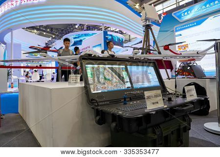 SHENZHEN, CHINA - CIRCA NOVEMBER, 2019: remote control an unmanned aerial vehicle on display at China Hi-Tech Fair 2019 in Shenzhen Convention & Exhibition Center.