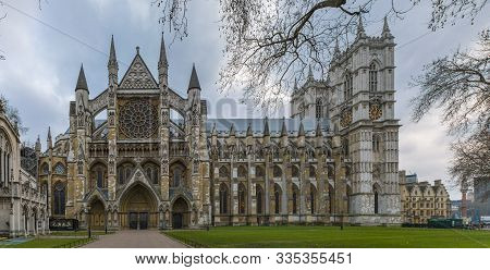 London, United Kingdom - January 13, 2018: Northern Facade Of The Westminster Abbey, Gothic Church A