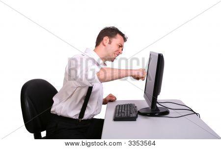 Man Punching Monitor