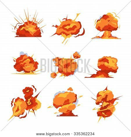 Cartoon Explosion. Bomb Detonation And Fireball Effect For Mobile Game Animation. Vector Isolated Il