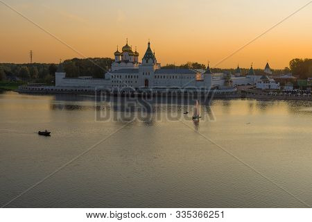 The Old Ipatievsky Holy Trinity Monastery In September Twilight. Kostroma, Golden Ring Of Russia