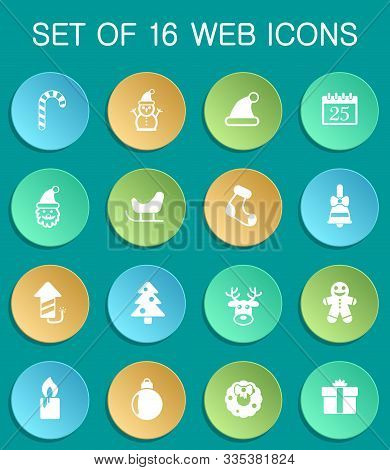 Christmass Web Icons On Colorful Round Buttons