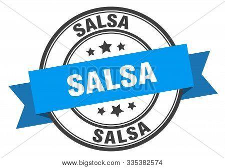 Salsa Label. Salsa Blue Band Sign. Salsa